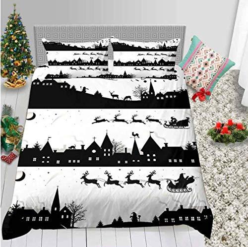 Duvet Cover 3D Printing Santa Claus Skiing And Christmas Elk Merry Christmas Bedding Set New Year Winter Duvet Cover 150 * 200 Cm