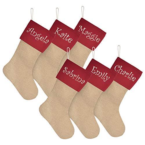 ElegantPark Personalized Christmas Stockings Set of 6 Red Large Plain DIY Xmas Holiday Fireplace Hanging Decoration Gifts for Family Kids
