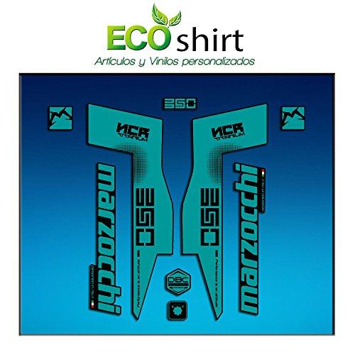 Ecoshirt ZW-2AEQ-YSID Stickers Fork Marzocchi 350 NCR Titanium Am76 Aufkleber Decals Autocollants Fourche Gabel Fourche Fourche Turquoise