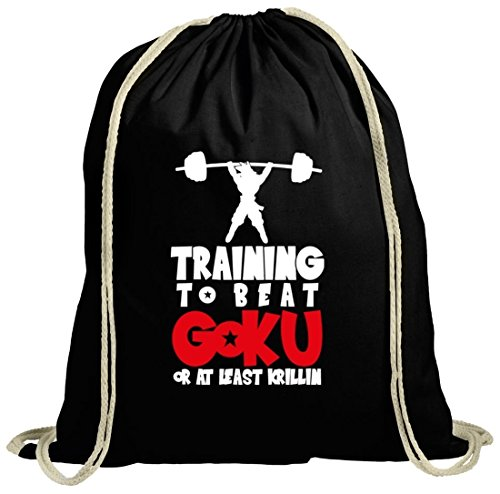 Shirtstreet24 Serien natur Turnbeutel Training To Beat Goku Or At Least Krillin, Größe: onesize,schwarz natur