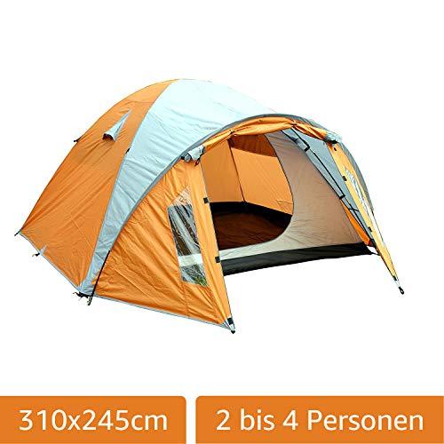 Montis HQ Ohio tent voor 2 tot 4 personen man, waterdicht & ultra licht met binnentent, luifel & muggennet, premium tent, geschikt als reis-trekking- & camingtent met draagtas