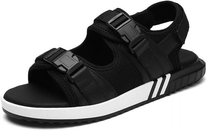 Winfridy Schwarze Sandalen mit flachem Boden Paar Schuhe Herrenschuhe Strandsandalen (Farbe   Schwarz, Größe   44)