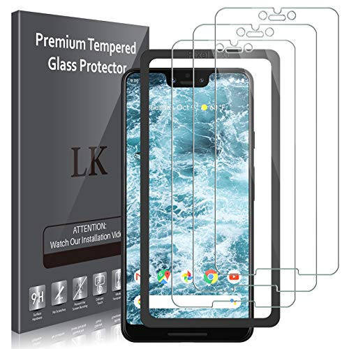 3 Pack LK Screen Protector Compatible for Google Pixel 3 XL Tempered Glass New Verison - Front Camera Hole Opened - Easy Installation Tray