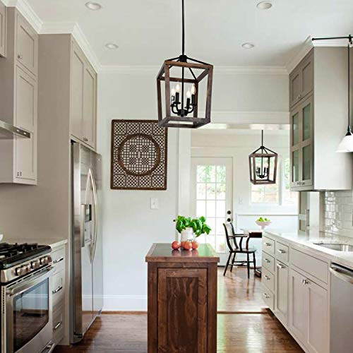 4-Light Rustic Kitchen Chandelier, Adjustable Height Lantern Pendant