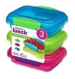 Sistema Lunch Frischhaltedosen mit kontrastierendem Clips, grün/pink/blau, 200ml, 3Stück
