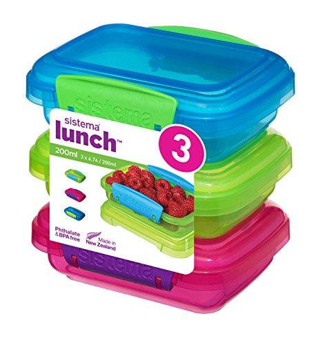 Sistema para el Almuerzo recipientes de Almacenamiento de Alimentos con Contraste Clips, Verde/Rosa/Azul, 200ml, Pack de 3