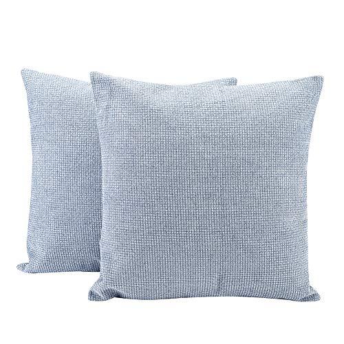 Generic Juego de 2 fundas de cojín de chenilla, estilo rústico, para decoración del hogar, sofá, 45 x 45 cm, color azul claro