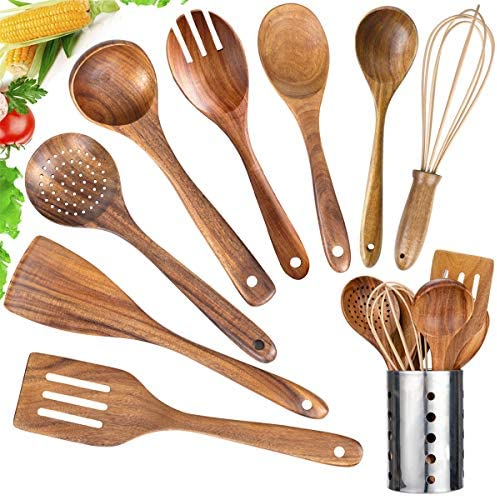 Kitchen Utensil Set Wood 9 Pack Wooden Cooking Utensils with Holder Natural Teak Wooden Spoons product image