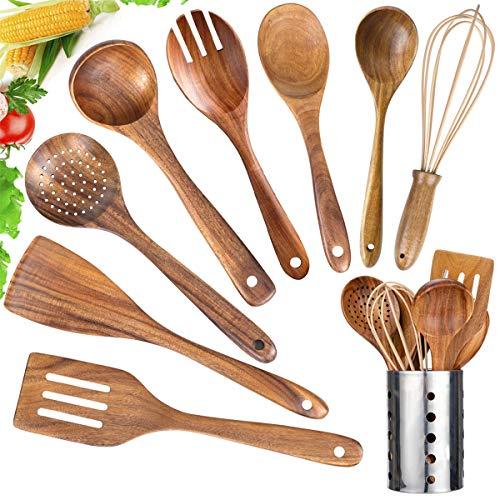 Kitchen Utensil Set Wood,Mondayou 9 Pack Wooden Cooking Utensils with Holder, Natural Teak Wooden Spoons for Cooking,Wooden Spatula,Turner,Strainer,Ladle,Egg Whisk,Slottled Spoons