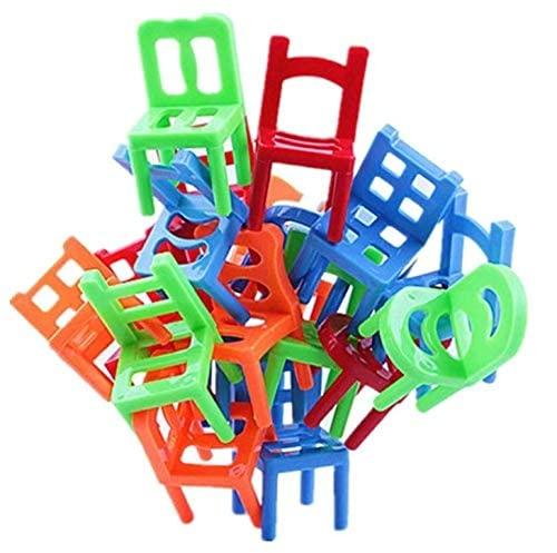HASAKA Stühle Stapelturm Balancierspiel – 36 Stück Kinder Stapelstühle Spielzeug Mini Bunte Party Spaß Stapeln Spielzeug Kinder pädagogisch Familie Puzzle Spiel
