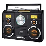 Sound Station Portable Stereo Boombox with Bluetooth/CD/AM-FM Radio/Cassette Recorder (Black)