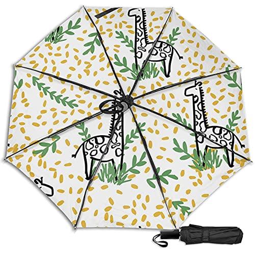 LYYNBLA GiraffeCompact - Paraguas de viaje con diseño manual, antiUV, resistente al viento, lluvia y sol, Impresión interior., Taille unique