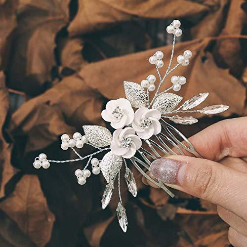 Edary Brautschmuck Hochzeit Blumen Haarkämme Silber Strass Braut Kopfschmuck Perle Haarclips Blatt Haarschmuck für Frauen und Mädchen