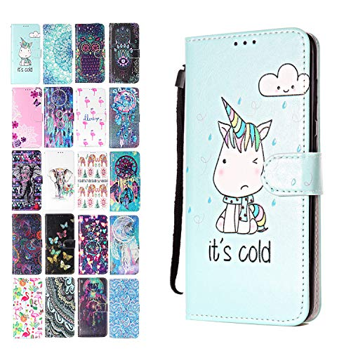 ANCASE Lederhülle kompatibel für Samsung Galaxy S9 Hülle Einhorn Muster Handyhülle Flip Case...