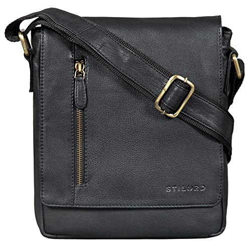 STILORD 'Easton' Vintage Bolso de Mensajero de Cuero para Hombre Mujer Bolsa Bandolera o de Hombro para Tablet de 10,1 Pulgadas de Auténtica Piel, Color:Negro