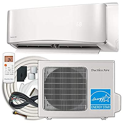 DuctlessAire 18,000 BTU 21 SEER Energy Star Ductless Mini Split Air Conditioner and Heat Pump Variable Speed Inverter 220V, Complete 25ft Installation Kit Included
