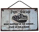 5x8 Sign with Classic Car Saying'Pops' Garage WHAT HAPPENS IN THE GARAGE. STAYS IN THE GARAGE.' Decorative Fun Universal Household Signs from Egbert's Treasures