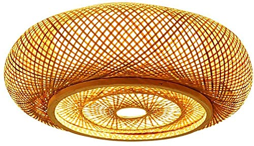 Bursthx Flush Mount Light Handmade Rattan Ceiling Lamp Wood 3 Lights Livingroom Lamp Vintage Style Ceiling Light Fixture Tropical DIY Wicker Rattan Lamp Shades Weave Hanging Light Droplight
