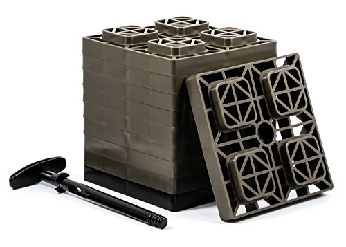 Camco FasTen 2x2 Leveling Block For Single Tires, Interlocking Design Allows Stacking To Desired Height, Includes Secure T-Handle Carrying System, Brown (Pack of 10) - 44521