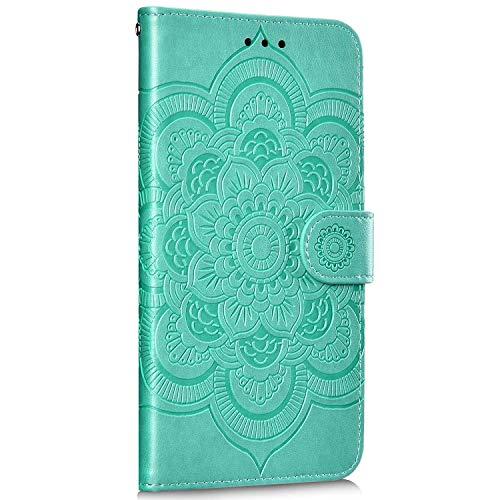 Saceebe Compatible avec Huawei Honor 20 Pro Coque Housse en Cuir Pochette Portefeuille Etui Fille 3D Motif Mandala Fleur Coque Housse de Protection à Rabat Magnetique Flip Cover Stand,Vert