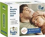 Dr. Breathe Well - 90 Tiras Nasales - Antironquidos - Talla Grande 66mm 6,6cm - Adhesivo fuerte - Fácil de quitar