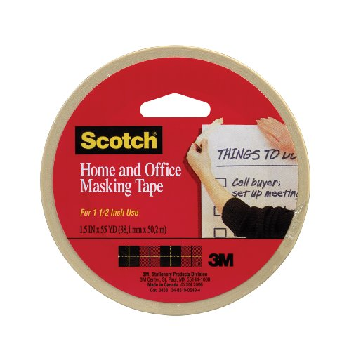 Scotch(R) Home and Office Masking Tape, 1-1/2-Inch x 55 Yards,Tan (3438)