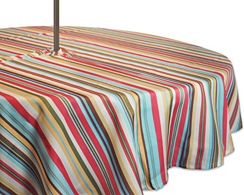 DII 100% Polyester, Spill Proof, Machine Washable, Zipper Tablecloth for Outdoor Use with Umbrella Covered Tables, 52' Round, Warm Summer Stripe, Seats 4 People, w
