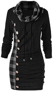 ReooLy Women's Turtleneck Sweaters Side Button Plaid Long Tops Autumn Winter Leisure Fashion Print Sweatshirt Elegant Blou...
