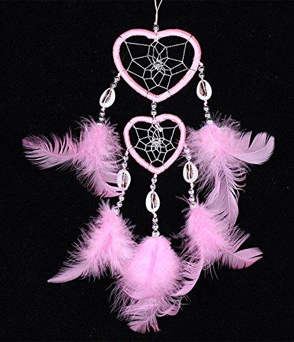 Preisvergleich Produktbild YCZZ Pink Up and Down Double Peach Heart 2 Ring Shell Catcher Dream Net Home Decoration Pendant Dreamer Wind Bell rosa Windspiele