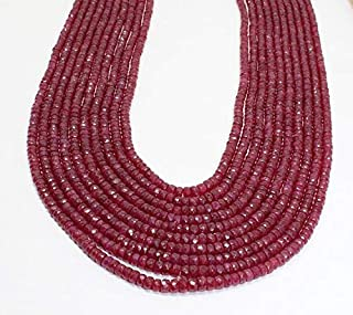Jewel Beads Natural Beautiful jewellery ON SALE 10 Strand Finest Quality Natural Ruby Faceted Rondelles Necklace/July Birthstone Necklace, Ruby Necklace,July BirthstoneCode:- BB-115