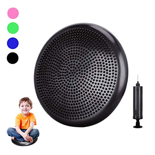 Freesty Wobble Cushion, Wiggle Seat with Pump, Air Stability Disc Core Trainer for Home & Gym, Office Desk Chair Cushion for Flexible Classroom Seat, Sensory Kids Cushion Seat for Fidg (Black,34cm)