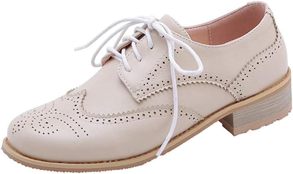 Women's Perforated Lace-up Wingtip Leather Flat Oxfords Vintage Brogues Low Heel Dress Shoes