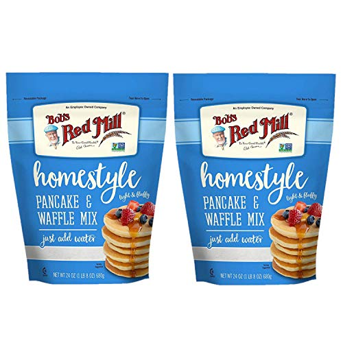 Bob#039s Red Mill Homestyle Pancake and Waffle Mix 24 oz Two Pack 48 oz Total  Instant Easy to Use Fluffy Pancake Mix  Just Add Water  Two Pack Pancake and Waffle Mix Two 24 oz Resealable Bags
