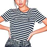 VIENTO La Marinera Camiseta para Mujer (Blanca/Azul Marino, M)