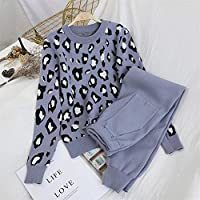 女性のニットスーツ長袖Oネックセーター+ウエストゴムポケットパンツスーツスポーツウェア女性 Ztoyby (Color : B, Size : One Size)
