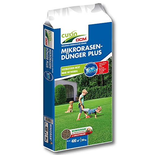 CUXIN DCM Mikrorasen-Dünger Plus 20 kg Rasendünger Moosvernichter Langzeitdünger