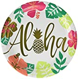 Amscan 591953 Aloha Metallic Party Plates, 10.5', 8 Ct.