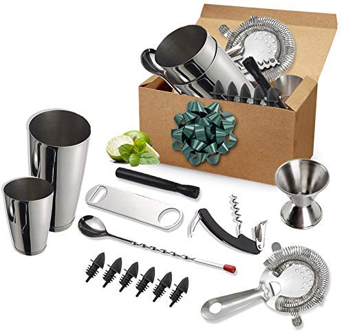 Tiger Chef 14 Piece Stainless Steel Cocktail Bar Tool Set