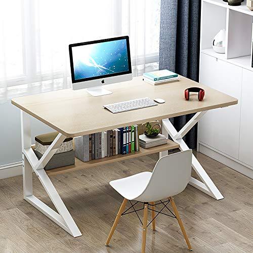 XM&LZ Casa Oficina Mesa De Ordenador con Hutch,Madera K-Forma Marco De Metal Escritorio Escritura Mesa De Estudio para Espacios Pequeños,Mesa De Laptop Puesto De Trabajo-B 100x60x72cm(39x24x28inch)