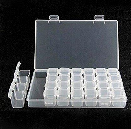 Caomoa Aufbewahrungsbox für Schmuck, Schmuck, Ohrringe, Perlen, Halsketten, etc, Kunststoff, transparent, 28 Stück