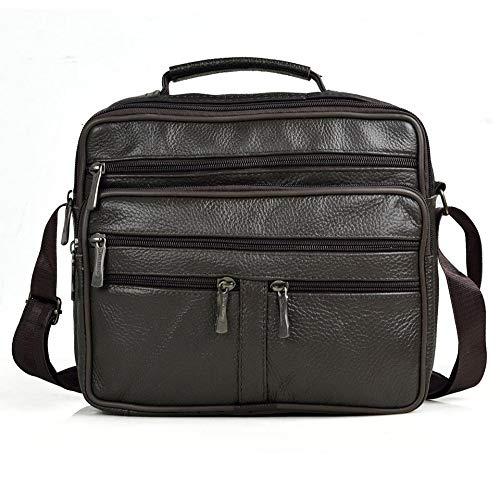 Modisch Stilvolles Aussehen, Männer Umhängetasche Männer Echtes Leder Messenger Bag Junge Kaffee Mitte Größe Handtaschen Tasche Natürliche Haut Männer Aktentasche Geeignet zum Abnehmen