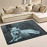 MNSRUU Halloween Wolf Teppich Teppich Teppich Teppich für Wohnzimmer Schlafzimmer, Textil, Multi, 91cm x 61cm(3 x 2 feet)