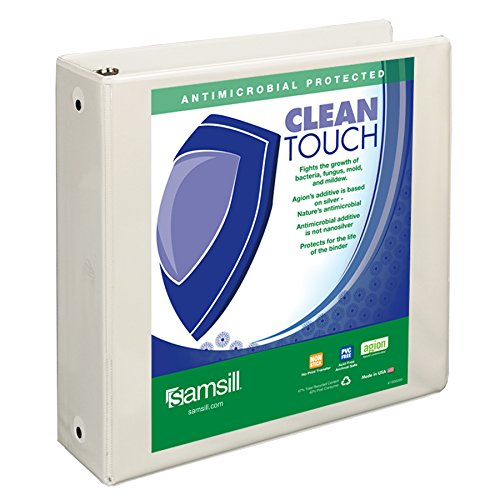 Samsill Clean Touch 3 Ring View Binder Protected by Antimicrobial Additive, Customizable Clear View Cover,3 Inch Round Rings, White