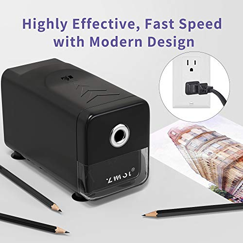 Electric Pencil Sharpener Heavy Duty,Pencil Sharpener for Classroom,Commercial pencil sharpener for 6-8mm No.2/Colored Pencils, Best Pencil Sharpener,Auto-Stop,Super Fast&Sharp(Pencil Sharpener Only) Photo #8