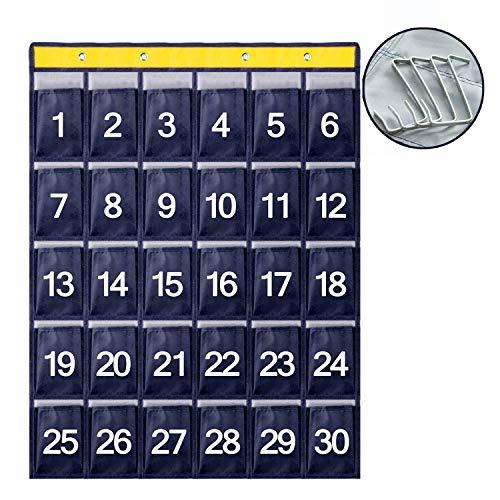 ウォールポケット 大容量 お薬カレンダー ポケット 防水 壁掛け式収納袋 ウォールラック スマホ 鍵 usb ケーブル周辺機器など 小物入れ収納 4つフック付き 30ポケット