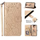 Coque Motorola Moto One / P30 Play, Gaufrage Éléphant Leather Cuir Rabat Wallet Case Housse Cover...