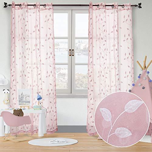 softan Gardinen Lichtdurchlässige Vorhänge mit Ösen Transparent Gardinen für Fenster im Wohnzimmer Schlafzimmer, 2er-Set, je 245x140cm (Rosa/Blätter)