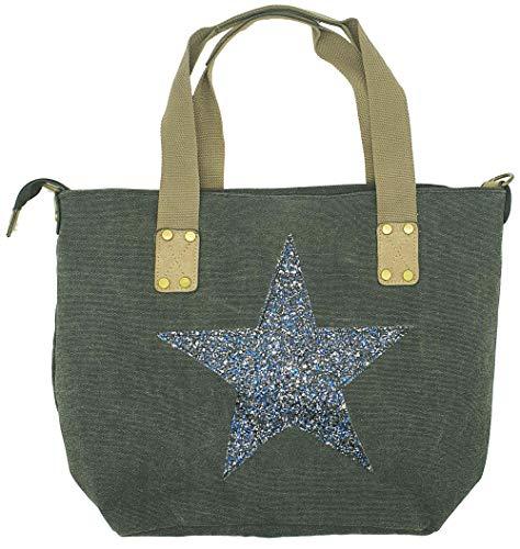 Highlight-Company canvas handtas glitter ster shopper schoudertas met schouderriem en ritssluiting
