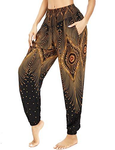 Irevial Pantalones Holgados de Yoga para Mujer, Alta Cintura Pantalones Boho Mujer Verano, Casual Danza Pilates Yoga Pants