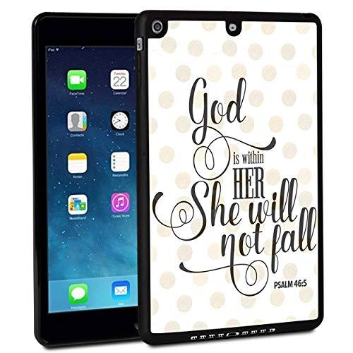 Funda para iPad de 9,7 pulgadas 2017, funda para iPad Air, a prueba de golpes, carcasa rígida de goma con diseño de punto de fiesta de Salmo 46:5 y función atril para Apple iPad de 9,7 pulgadas 5ª generación